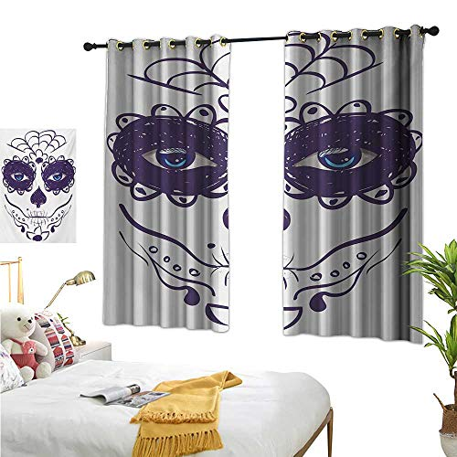 RuppertTextile Insulated Sunshade Curtain Dia de Los Muertos Sugar Skull Girl Face with Mask Make up Print 72