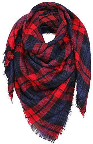 Simplicity Women's Large Pashmina Plaid Fringe Scarf, Red Dark Blue