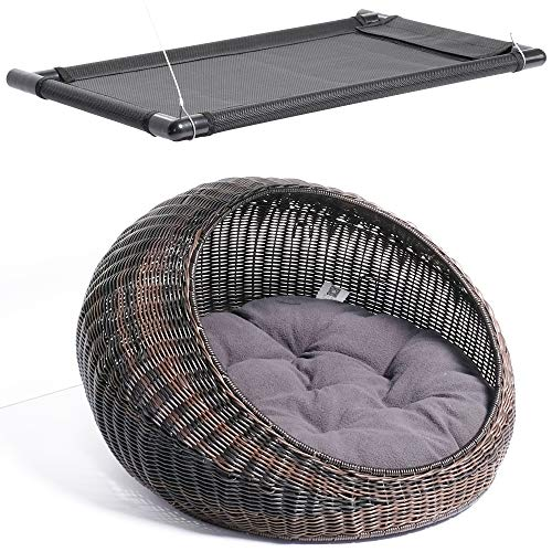 D+ Garden 2-PC Wicker Cat Bed for Large Indoor Cats – a Covered Cat Hideaway Hut of Rattan in Dome Basket + a Cat Window Perch for Big Cats Review