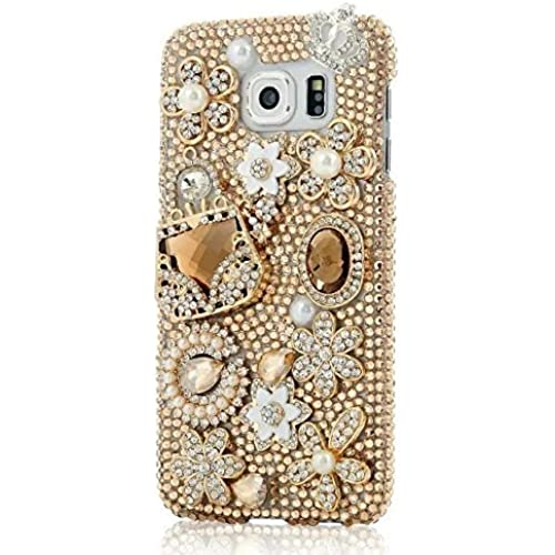 Galaxy S7 Crystal Rhinestone Case,Max-B LV Galaxy S7 Luxury Bling Diamond Crystal Gold Bags Transparent Clear Phone Case Cover For Samsung Galaxy S7 Sales