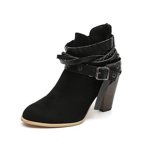 Botas,ZARLLE Botas Cortas De Mujer Botas De TacóN Alto Zapatos Martin Boots Botines Mujeres Tobillo Corta Botines Cuero Caballero Damas Martin Botas Zapatos ...