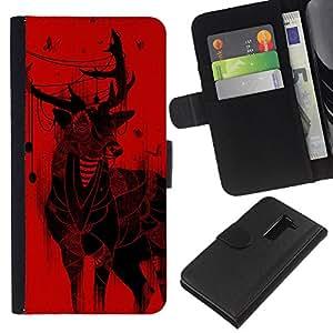 KingStore / Leather Etui en cuir / LG G2 D800 / Ciervos de la Navidad arte Dibujo Mariposas rojas