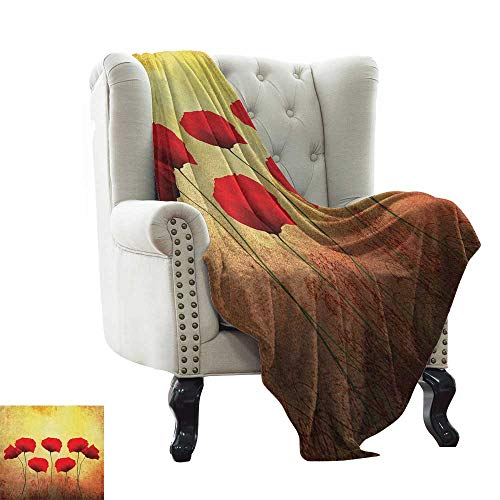 (BelleAckerman Weighted Blanket for Kids Poppy,Poppies on Old Aged Retro Featured Backdrop Design Past Days Drama Petals, Scarlet Pale Yellow Warm Microfiber All Season Blanket 60