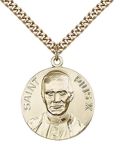 14kt Gold Filled Pope Pius X Pendant with 24