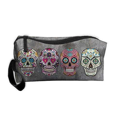 Sugar Skulls Portable Storage Pouch Travel Makeup Bag Oxford