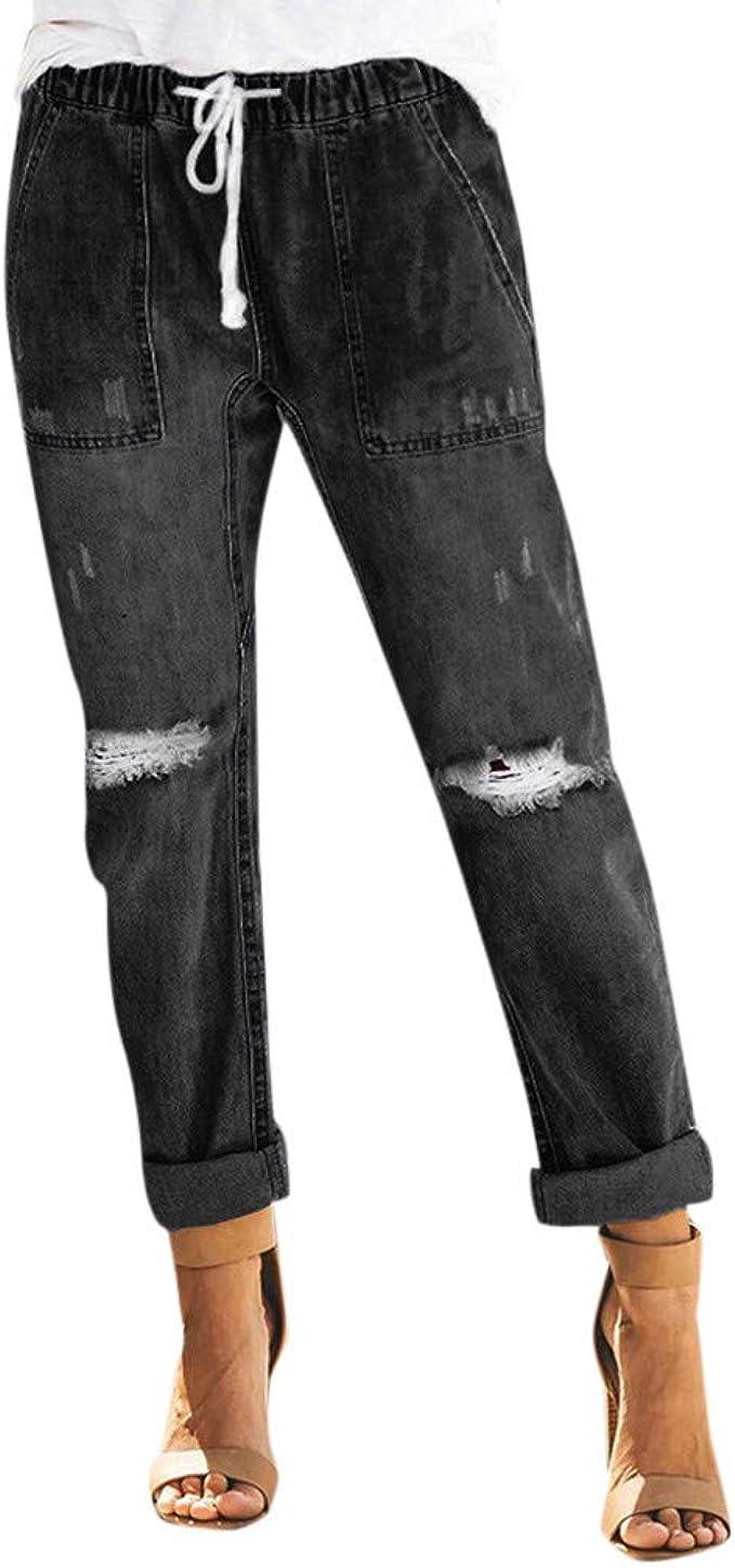 Riou Damen Straight Jeans Stretch Mit Gummizug Zerrissen Slim Fit Gerades Bein Jeanshose Freizeithose Amazon De Bekleidung