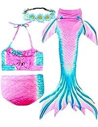 3 Pcs Girls Swimsuit Mermaid Tails for Swimming Princess...