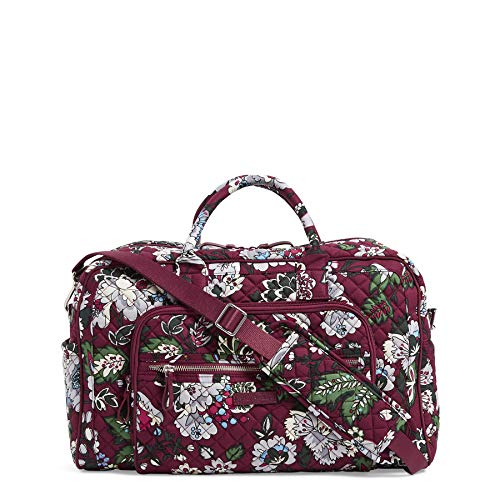Vera Bradley Iconic Compact Weekender Travel Bag, Signature Cotton, Bordeaux Blooms