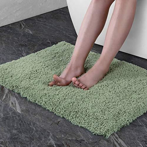NORCHO Bath Mat Rug 17x27 Soft Microfiber Water Absorbent Non-Slip Antibacterial Rubber Green