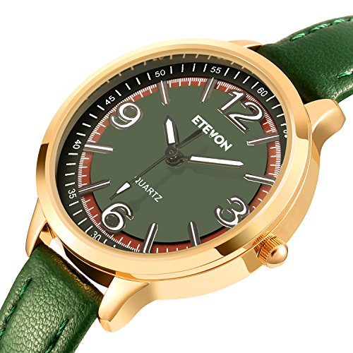 ETEVON Women's Casual Quartz Watch Green Leather Band and Precise Scale Dial Rose Gold Alloy Case Simple Dress Wrist Watch for Women Ladies