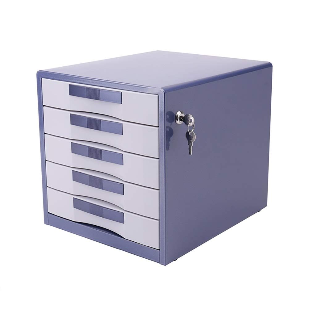 RRH-File Cabinet, 5, 7-Layer Drawer Type File Cabinet, Office Data Storage Box, Plastic Lock File Cabinet, Household Large-Capacity Storage Cabinet (Color : Blue, Size : 31cm30cm35cm) by RRH