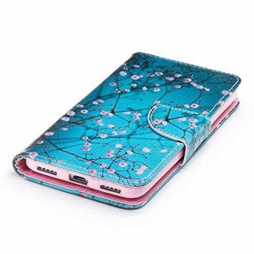Yiizy Huawei Enjoy 6 Funda, Plum Flower Diseño Solapa Flip Billetera Carcasa Tapa Estuches Premium PU Cuero Cover Cáscara Bumper Protector Slim Piel Shell Case Stand Ranura para Tarjetas Estilo