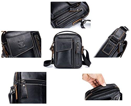 Genuine Leather Men Bags Small Shoulder Crossbody Bag for Men Everyday Casual Travel Messenger Bag Handbag (black) by BULLCAPTAIN (Image #2)