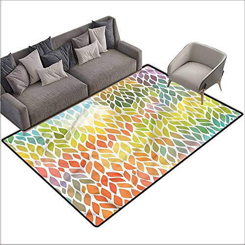 Floor Mat Entrance Doormat Leaves,Funky Floral Colorful 80