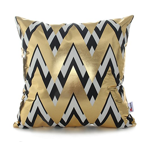 (Monkeysell 2018 New Bronzing Black and Gold Pillows Cover Home Decorative Pillowcases Throw Pillow Cover Cushion Waist Lumbar Pillow Geometry Design 18 inches)