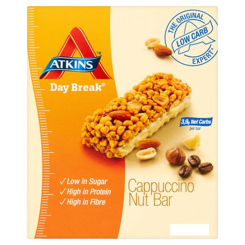 Atkins 37g Day Break Cappuccino Nut Bars - 4 x box of 5 (20 Bars) by Atkins