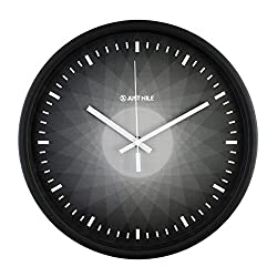 JustNile 12-Inch Silent Wall Quartz Clock with Modern & Creative Black Frame; Extreme Time Precision; Smooth Hand Non-Ticking Movement –Black and Grey Gradient Color design