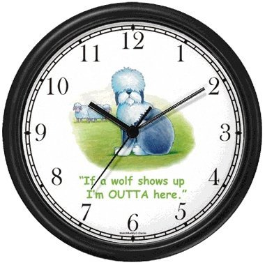 Old English Sheepdog Dog Cartoon or Comic - JP Animal Wall Clock by WatchBuddy Timepieces (Black Frame)