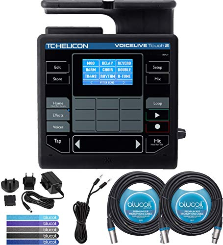 Voicelive Vocal Effects - TC Helicon VoiceLive Touch 2 Vocal Effects Processor Bundle with 12V DC Power Supply, Blucoil 2-Pack of 20-FT Balanced XLR Cables, 6-FT Stereo Aux Cable, and 5-Pack of Reusable Cable Ties