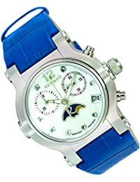Women's Beauty Swiss Chronograph Moon Phase Leather Strap Blue