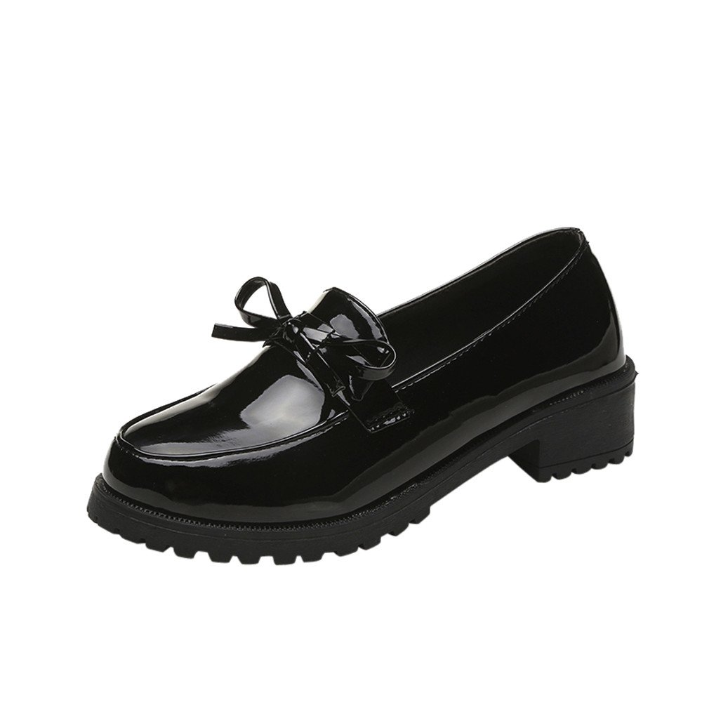 Nevera Women's Fashion Spring Casual Comfort Bowknot Solid Loafer Dress Ankle Shoes Black