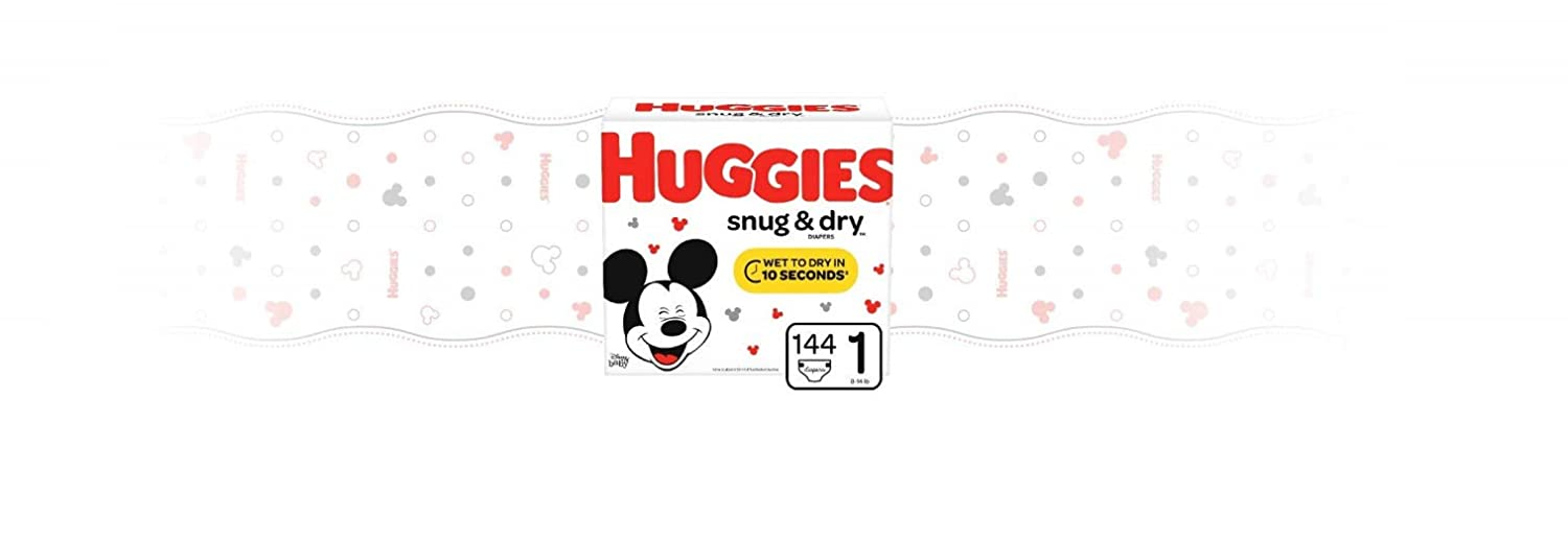 fits 8-14 lb. Huggies Snug /& Dry Baby Diapers Size 1 Packaging May Vary ONE Month Supply 264 Count