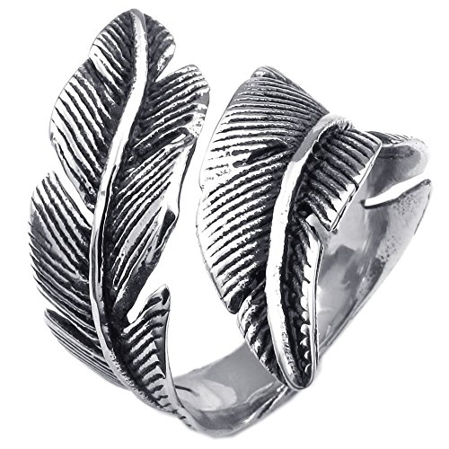 KONOV Mens Womens Stainless Steel Ring, Vintage Feather, Black