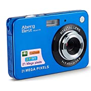 AbergBest 21 Mega Pixels 2.7″ LCD Rechargeable HD Digital Video Students Cameras-Indoor Outdoor for Adult/Seniors/Kids (Blue)