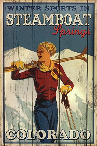 Winter Sports in Steamboat Springs Colorado Ski Art Print Poster 24 x 36in