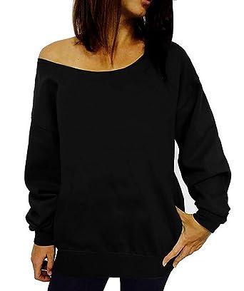 696c1d9eac7742 Dutebare Women Off Shoulder Sweatshirt Slouchy Shirt Long Sleeve Pullover Tops  Black a S