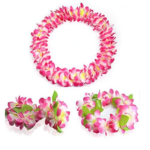 (JSSHI Lush Hawaiian Headpiece,Hawaiian Flower Leis Jumbo Necklace Bracelets Headband Set with Leaf for Hawaiian Luau Party Decoration Supplies (with Green Leaves,Pink))