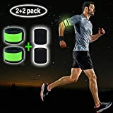 LED Armband Runner Lights 2-Pack - Glow-in-The-Dark Running Lights for Runners, Joggers, Walkers & Cyclists - Light Up LED Bracelet Reflective Running Gear Slap Band for Safety + 2 Bonus Sweat Bands