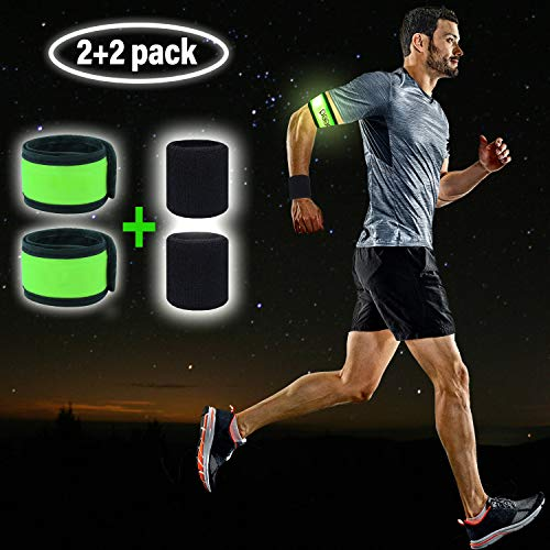 LED Armband Runner Lights 2-Pack - Glow-in-The-Dark Running Lights for Runners, Joggers, Walkers & Cyclists - Light Up LED Bracelet Reflective Running Gear Slap Band for Safety + 2 Bonus Sweat Bands]()