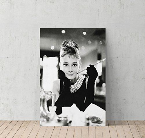 Audrey Hepburn Breakfast at Tiffany`s Canvas Print Decorative Art Modern Wall Décor Artwork Wrapped Wood Stretcher Bars - Ready to Hang - %100 Handmade in the USA - Border Blue Wallpaper Friends