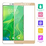 Cuitan Full Coverage Tempered Glass Screen Protector for OPPO R7 Plus, Ultra-thin 0.3mm thickness, 9H Hardness, 2.5D, Clear Transparent Anti-scratch Fingerprint Resistant Tempered Glass Screen Protector Protective Film for OPPO R7 Plus - Gold