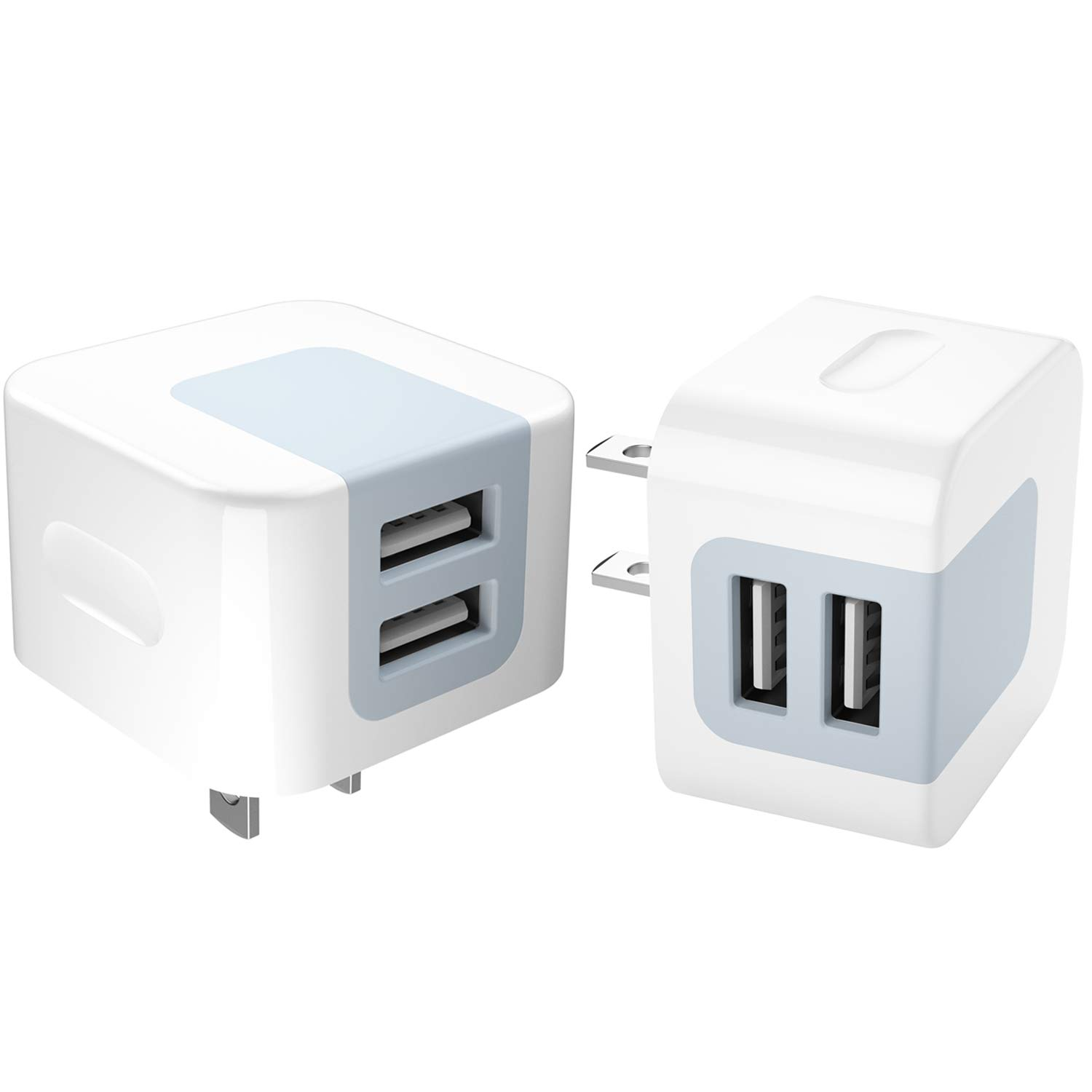 USB Charger, Dodoli 2-Pack 2.4A Dual Port 12W Wall Charger Adapter Plug Compatible iPhone X/XR / Xs/Xs Max /8/8 Plus/ 7 / 6S / 6S Plus, ipad,Samsung Galaxy HTC, Moto, Huawei More TONGXINGRUI X-180531-2