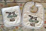Baby Boy Bib and Burp Cloth Set Hunting Dog Theme Personalized Baby Gift Layette