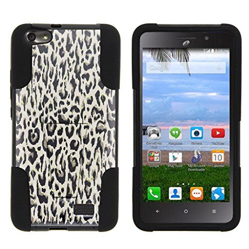 Huawei Raven Case LTE | H892L [Gel Max Cover] Dual Layer Hybrid Case Unique Customized Design Hard Shell Kickstand by TurtleArmor - Fainted Leopard Print