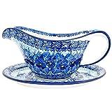 Polish Pottery Handmade Gravy Pitcher with Saucer 239-U3639-M.Starzyk