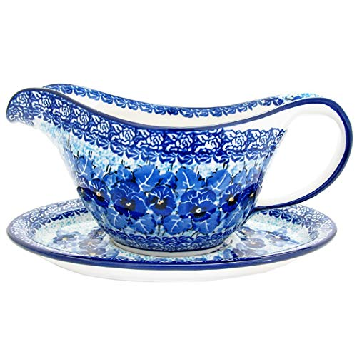 Polish Pottery Handmade Gravy Pitcher with Saucer 239-U3639-M.Starzyk by Great2bHome Polish Pottery and Unique Gifts (Image #1)