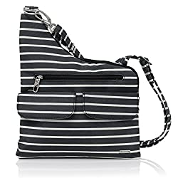 Travelon Anti-theft Cross-body Bag, Two Pocket (Black Wwhite Stripe - Exclusive Color)
