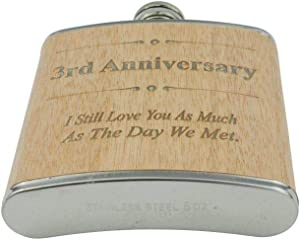 3rd Anniversary Hip Flask 3 Year Anniversary Gift For Him