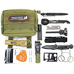 Survival Gear Kit 11 in 1 Molle Pouch EDC Survival Bag, SOS Emergency Tool for Camping, Hiking,Trekking Wild Adventure Earthquake, Valentine's Day Gifts for Him Husband Men Dad Boyfriend