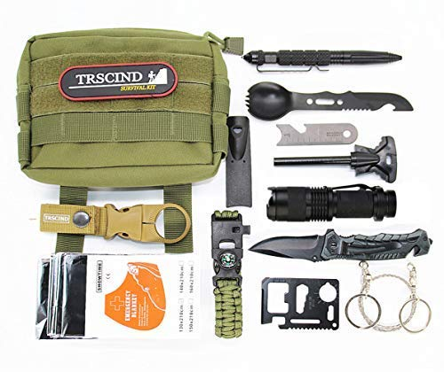 Survival Gear Kit 11 in 1 Molle Pouch EDC Survival Bag, SOS Emergency Tool for Camping, Hiking,Trekking Wild Adventure Earthquake, Valentine's Day Gifts for Him Husband Men Dad ()