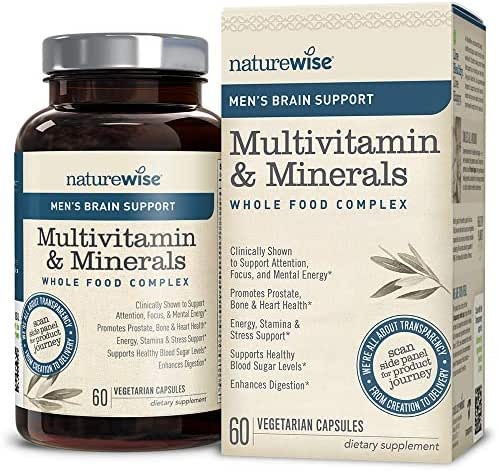 NatureWise Men's Whole Food Multivitamin with Brain Support   Vitamins & Minerals Complex for Optimum + Brain Boost from Cognizin Citicoline (Watch Video in Images) [1 Month - 60 Count]