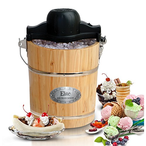 Gourmet 6 Qt. Old Fashioned Ice Cream Maker, Brown and Black