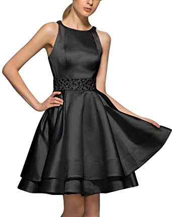 Halter Homecoming Dresses for Juniors Satin Beaded A-Line Short Prom Dresses Black Size 2