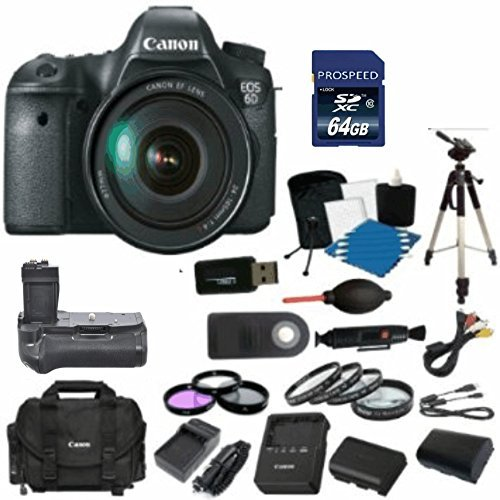 Canon EOS 6D Digital SLR Camera Body with EF 24-105mm L IS USM Lens with 64GB Card + Original Canon Case + 2 Batteries & 2 Chargers + Battery Grip + Tripod + UV/FLD/CPL Filter Kit + Macro Kit + MORE! by Canon