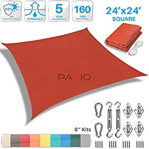 Patio Paradise 24' x 24' Sun Shade Sail with 8 inch Hardware Kit, Red Square Patio Canopy Durable Shade Fabric Outdoor UV Shelter Cover - 3 Year Warranty - Custom Size Available
