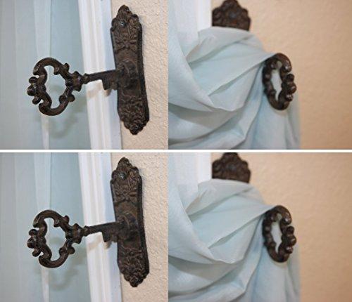 Old Fashion Vintage-look Skeleton Key Tieback Holdbacks Cast Iron, HW-04 Set of 4~